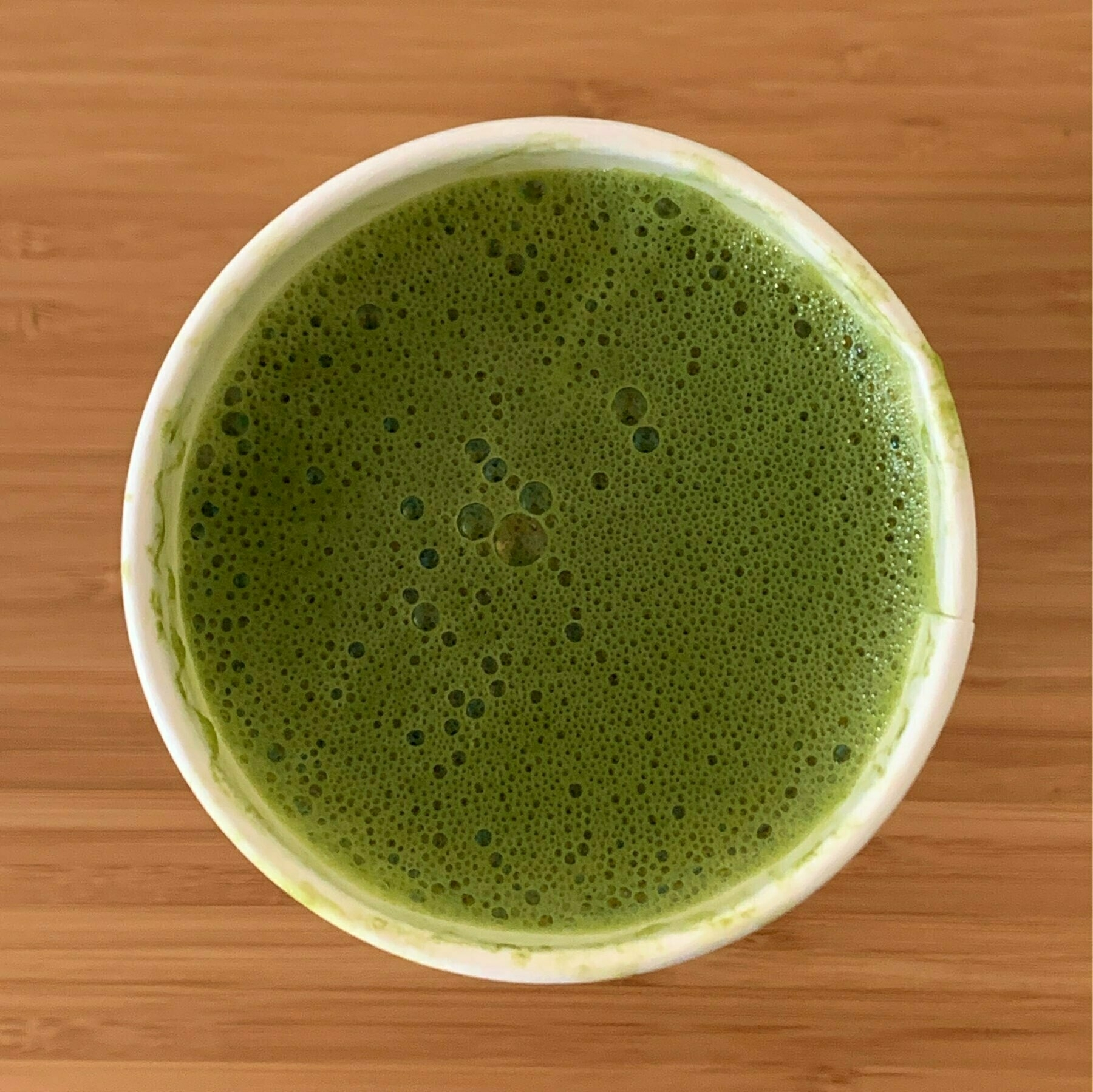 top down view of a cup of matcha tea