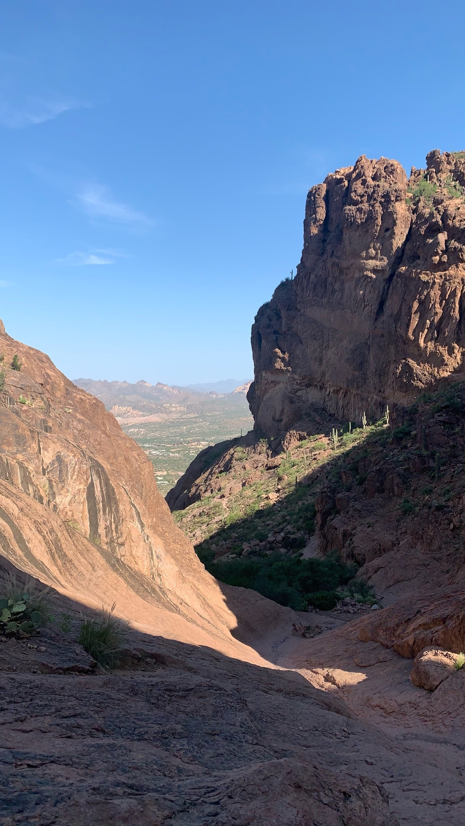 view down the gully of Siphon Draw in the Superstition Mountains